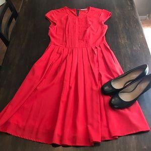 eShakti Red Dress Knee Length Pockets